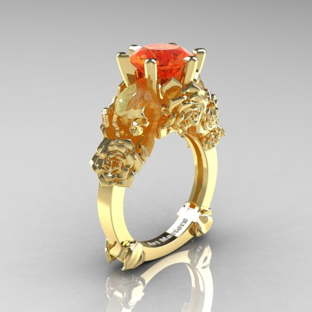 Love and Sorrow 14K Yellow Gold 3.0 Ct Orange Sapphire Skull and Rose Solitaire Engagement Ring R713-14KYGOS