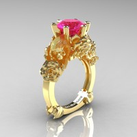 Love and Sorrow 14K Yellow Gold 3.0 Ct Pink Sapphire Skull and Rose Solitaire Engagement Ring R713-14KYGPS