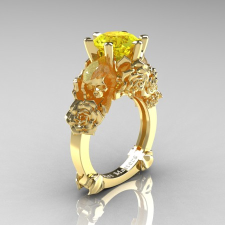 Love and Sorrow 14K Yellow Gold 3.0 Ct Yellow Sapphire Skull and Rose Solitaire Engagement Ring R713-14KYGYS