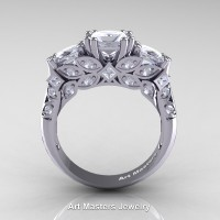 Classic Armenian 14K White Gold Three Stone Princess Diamond Solitaire Engagement Ring R500-14KWGD
