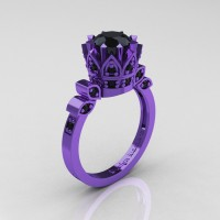 Classic Armenian 14K Violet Gold 1.0 Ct Black Diamond Crown Solitaire Ring R405-14KVGBD