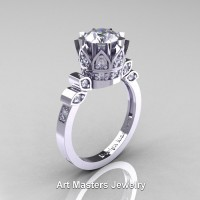 Classic Armenian 14K White Gold 1.0 Ct Diamond Crown Solitaire Ring R405-14KWGD