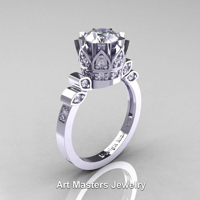 Classic Armenian 14K White Gold 1.0 Ct Diamond Crown Solitaire Ring ...