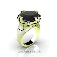 Italian 14K Green Gold 10.0 Ct Black Diamond Wedding Cocktail Ring R51-14KGGBD