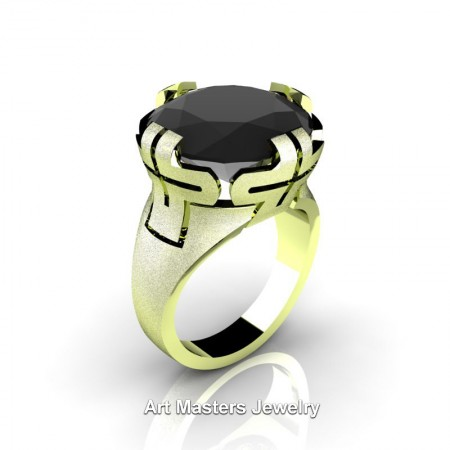 Italian-14K-Green-Gold-10-Ct-Black-Diamond-Cocktail-Ring-R51-14KSGGBD-P4