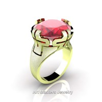 Italian 14K Green Gold 10.0 Ct Ruby Wedding Cocktail Ring R51-14KGGR
