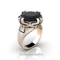 Italian 14K Rose Gold 10.0 Ct Black Diamond Wedding Cocktail Ring R51-14KRGBD