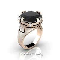 Italian 14K Rose Gold 10.0 Ct Black Diamond Wedding Cocktail Ring R51-14KRGBD