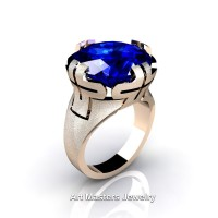 Italian 14K Rose Gold 10.0 Ct Blue Sapphire Wedding Cocktail Ring R51-14KRGBS