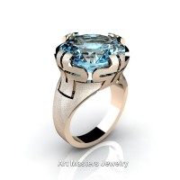 Italian 14K Rose Gold 10.0 Ct Blue Topaz Wedding Cocktail Ring R51-14KRGBT