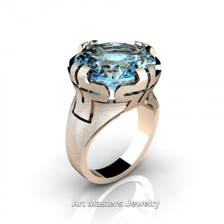 Italian-14K-Rose-Gold-10-Ct-Blue-Topaz-Wedding-Cocktail-Ring-R51-14KSRGBT-P4