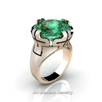 Italian 14K Rose Gold 10.0 Ct Emerald Wedding Cocktail Ring R51-14KRGEM