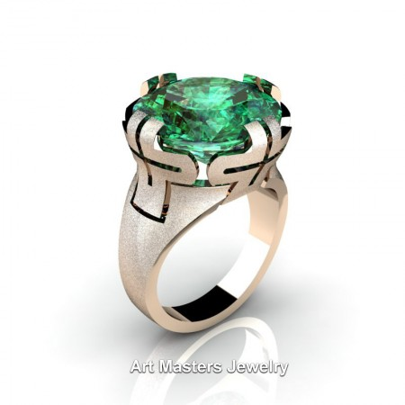 Italian-14K-Rose-Gold-10-Ct-Emerald-Wedding-Cocktail-Ring-R51-14KSRGEM-P4