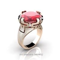 Italian 14K Rose Gold 10.0 Ct Ruby Wedding Cocktail Ring R51-14KRGR