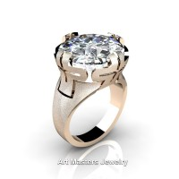 Italian 14K Rose Gold 10.0 Ct White Sapphire Wedding Cocktail Ring R51-14KRGWS