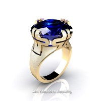 Italian 14K Yellow Gold 10.0 Ct Blue Sapphire Wedding Cocktail Ring R51-14KYGBS