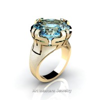 Italian 14K Yellow Gold 10.0 Ct Blue Topaz Wedding Cocktail Ring R51-14KYGBT