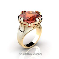 Italian 14K Yellow Gold 10.0 Ct Padparadscha Wedding Cocktail Ring R51-14KYGPA