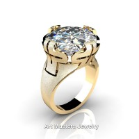 Italian 14K Yellow Gold 10.0 Ct White Sapphire Wedding Cocktail Ring R51-14KYGWS