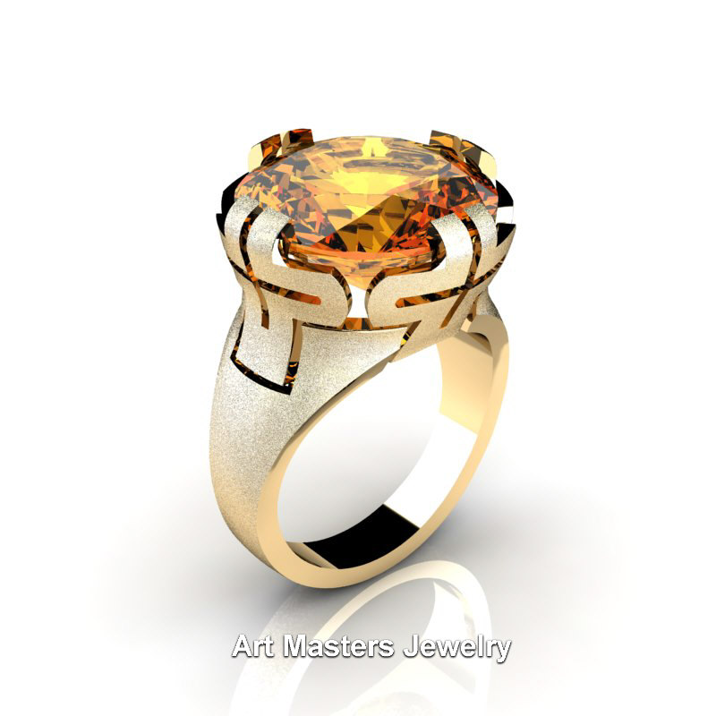 Italian 14k Yellow Gold 10 0 Ct Yellow Citrine Wedding Cocktail Ring R51 14kygyc Art Masters Jewelry