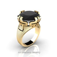 Italian 14K Yellow Gold 10.0 Ct Black Diamond Wedding Cocktail Ring R51-14KYGBD