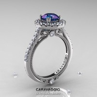 Caravaggio 14K White Gold 2.0 Ct Chrysoberyl Alexandrite Diamond Engagement Ring Wedding Ring R621-14KWGD2AL