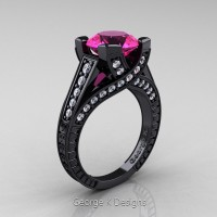Classic 14K Black Gold 3.0 Ct Pink Sapphire Diamond Engraved Engagement Ring R364-14KBGDPS