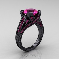 Classic 14K Black Gold 3.0 Ct Pink Sapphire Engraved Engagement Ring R364-14KBGPS