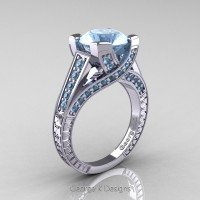 Classic 14K White Gold 3.0 Ct Aquamarine Engagement Ring R364-14KWGAQ