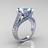 Classic 14K White Gold 3.0 Ct Aquamarine Engagement Ring R364-14KWGAQ