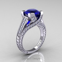 Classic 14K White Gold 3.0 Ct Blue Sapphire Diamond Engagement Ring R364-14KWGDBS