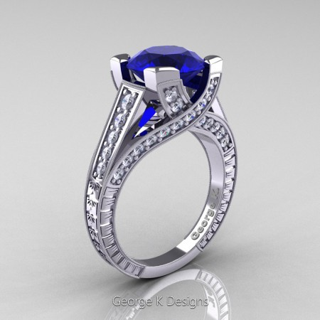 Classic-14K-White-Gold-3-Ct-Blue-Sapphire-Diamond-Engraved-Solitaire-Engagement-Ring-R364P-14KWGDBS-P