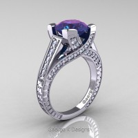 Classic 14K White Gold 3.0 Ct Chrysoberyl Alexandrite Diamond Engagement Ring R364-14KWGDAL