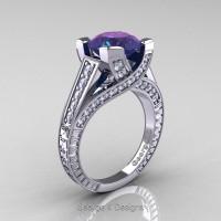 Classic 14K White Gold 3.0 Ct Chrysoberyl Alexandrite Diamond Engagement Ring R364-14KWGDAL