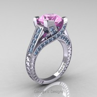 Classic 14K White Gold 3.0 Ct Light Pink Sapphire Aquamarine Engagement Ring R364-14KWGAQLPS