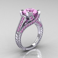 Classic 14K White Gold 3.0 Ct Light Pink Sapphire Engagement Ring R364-14KWGDLPS
