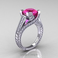 Classic 14K White Gold 3.0 Ct Pink Sapphire Diamond Engagement Ring R364-14KWGDPS