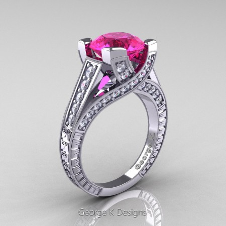 Classic-14K-White-Gold-3-Ct-Pink-Sapphire-Diamond-Engraved-Solitaire-Engagement-Ring-R364P-14KWGDPS-P