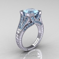 Classic 14K White Gold 3.0 Ct Princess Aquamarine Engraved Engagement Ring R367P-14KWGAQ