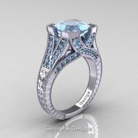Classic 14K White Gold 3.0 Ct Princess Aquamarine Engraved Engagement Ring R367P-14KWGAQ