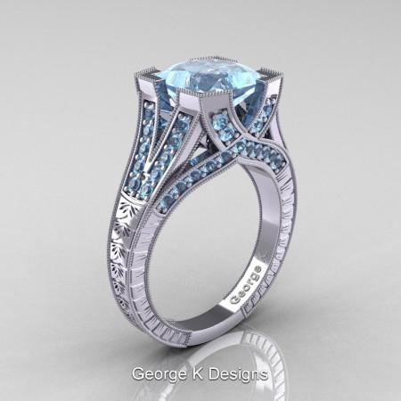 Classic-14K-White-Gold-3-Ct-Princess-Aquamarine-Engraved-Solitaire-Engagement-Ring-R367P-14KWGAQ-P