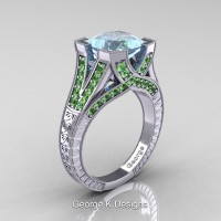 Classic 14K White Gold 3.0 Ct Princess Aquamarine Green Topaz Engraved Engagement Ring R367P-14KWGGTAQ