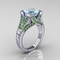 Classic 14K White Gold 3.0 Ct Princess Aquamarine Green Topaz Engraved Engagement Ring R367P-14KWGGTAQ
