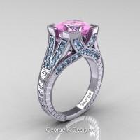 Classic 14K White Gold 3.0 Ct Princess Light Pink Sapphire Aquamarine Engraved Engagement Ring R367P-14KWGAQLPS