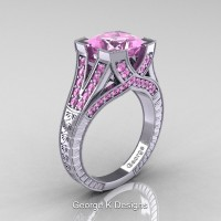 Classic 14K White Gold 3.0 Ct Princess Light Pink Sapphire Engraved Engagement Ring R367P-14KWGLPS