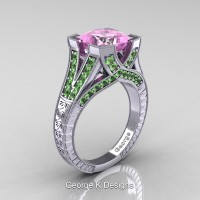 Classic 14K White Gold 3.0 Ct Princess Light Pink Sapphire Green Topaz Engraved Engagement Ring R367P-14KWGGTLPS