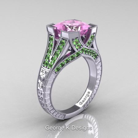 Classic-14K-White-Gold-3-Ct-Princess-Light-Pink-Sapphire-Green-Topaz-Engraved-Solitaire-Engagement-Ring-R367P-14KWGGTLPS-P