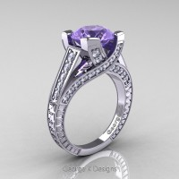 Classic 14K White Gold 3.0 Ct Tanzanite Diamond Engagement Ring R364-14KWGDTA