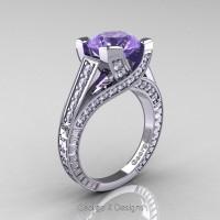 Classic 14K White Gold 3.0 Ct Tanzanite Diamond Engagement Ring R364-14KWGDTA