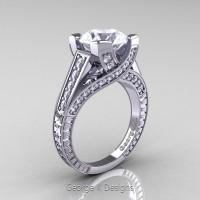 Classic 14K White Gold 3.0 Ct White Sapphire Diamond Engagement Ring R364-14KWGDWS